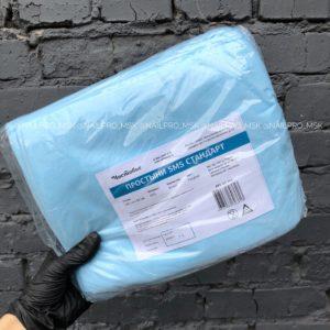 Простыни в сложении СМС стандарт 20 шт. 80*200 см, голубые