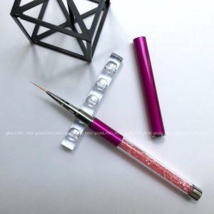 Кисть «волосок» с кристаллами, розовая