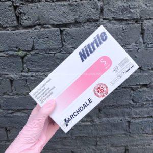 Перчатки нитриловые Nitrile 100 шт (50 пар) розовые, размер S