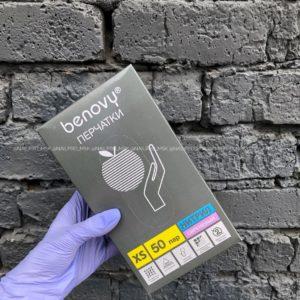 Перчатки нитриловые Benovy 100 шт (50 пар) сиреневые, размер XS