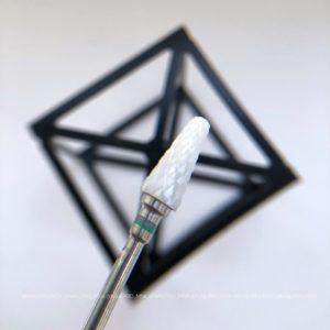 Керамическая фреза для снятия материала зеленая, конус