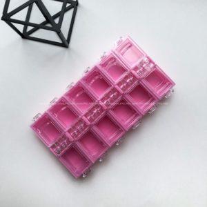 Контейнер для страз розовый, 12 ячеек.